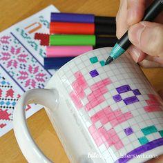 COLORING MUG DIY kit. 2 geometric mugs for coloring. by Biterswit