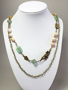 Boho brass light pink pearl and serenity blue necklace