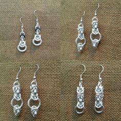 Orecchini chainmaille in alluminio con monachina in acciaio. Alchimia. Alchimia5874@gmail.com