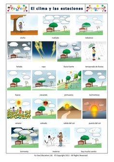 Weather and Seasons Flashcards in Spanish  http://www.yo-yee.com/es/spanish-step-up-flashcards/43-el-clima-y-las-estaciones.html