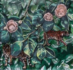 Available to buy online, Tigris Botanica, a framed work on paper by contemporary South African artist Adele van Heerden, size 31 x 31 x Soldier Drawing, Tiger Drawing, Art For Sale Online, South African Artists, Original Art For Sale, Online Art Gallery, Adele, Plant Leaves, Van