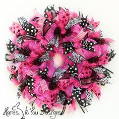 Deco Mesh Wreath Pink Door Wreath Summer by HaresToYouDesigns, $84.00