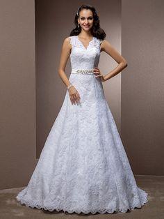 Lanting Bride® Corte en A / Princesa Tallas pequeñas / Tallas Grandes Vestido de Boda - Clásico y Atemporal / Elegante y Lujoso - MXN $3,306.99