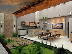 Contemporary Home Exterior - Stucco Exterior Backyard - Exterior Design Bungalow - Exterior Wall Brick - Exterior Cladding Architecture - Backyard Garden Design, Patio Design, House Design, Beautiful Home Gardens, Beautiful Homes, Bungalow Exterior, Stucco Exterior, Exterior Cladding, Exterior Design