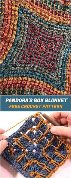 Pandora& Box Blanket - Free Crochet Pattern - knitting is as easy as . - Pandora& Box Blanket – Free Crochet Pattern – knitting is as easy as 3 Knitting boi - Crochet Afghans, Crochet Motifs, Crochet Squares, Crochet Stitches, Crochet Blankets, Granny Squares, Crochet Dishcloths, Crochet Mandala, Beau Crochet