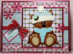Christmas card ... adorable punch art bear wearing his winter scarf & hat ... luv all of the red snowflakes and the texture on the hat ...