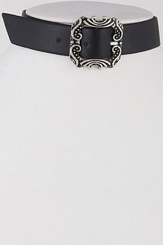 Buckle Black and Silver Choker Necklace