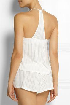 Off-white pointelle-knit Slips on viscose, polyester Hand wash Designer color: Cloud Lingerie Sleepwear, Pajama Set, Lounge Wear, Tankini, Camisole, Rompers, Shorts, Knitting, Maui