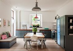 New kitchen colors warm apartment therapy 66 Ideas Eat In Kitchen Table, New Kitchen, Square Kitchen, Kitchen Cupboards, Rustic Kitchen, Kitchen Dining, Beautiful Kitchens, Cool Kitchens, Dark Kitchens