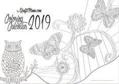 Coloring Calendar 2019 Printable instant download. Calendar 2019 Printable, Adult Coloring Pages, Printables, Unique Jewelry, Handmade Gifts, Etsy, Vintage, Kid Craft Gifts, Adult Colouring In