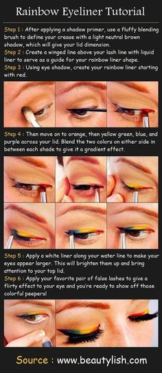 Try out a festive rainbow cat eye. | I like this tutorial but hate the fact that they used Comic Sans... #fail