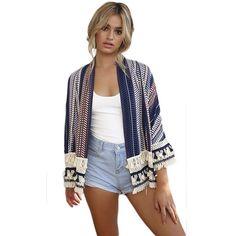 Women Vintage Floral Loose Shawl Kimono Cardigan Lace Coat Jacket Blouse Top