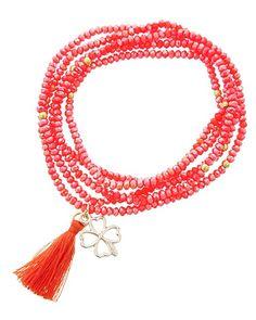 Gold Tone / Orange Glass Crystal & Thread / Four Clover & Tassel Charm Stretch / Wrap Bracelet / Pendant Long Necklace