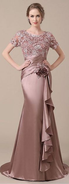 Prom Dresses : Elegant Stretch Satin Scoop Neckline Lace Mermaid Mother of The Bride Dresses Sexy Wedding Dresses, Cheap Wedding Dress, Trendy Dresses, Elegant Dresses, Fashion Dresses, Floral Fashion, Gown Wedding, Skirt Fashion, Simple Dresses