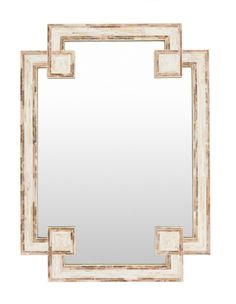 Our inlaid mother of pearl shell decorative mirror is stunning finished in a unique Greek key inspired geometric shape. Ivory shell framed by light brown shell adds to its dynamic texture and pattern.