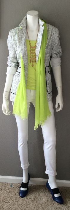 Daily Look: CAbi Spring '15 White Skinny Jean, Simple Cami, lemon lime, Code Blazer & Pop Scarf with a cool pair of flats & my fave Stella & Dot necklace. #cabiclothing #springfashion