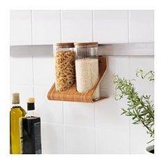 IKEA - RIMFORSA, Standaard met potjes, Je kan de standaard op het werkblad zetten of aan de muur hangen om meer ruimte vrij te maken. Geschikt voor dagelijks gebruik, want gemaakt van een slijtvast materiaal.