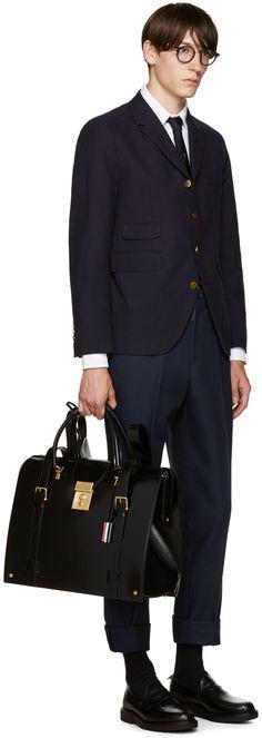 7440€ Thom Browne - Sac à dos en cuir verni noir Mr. Thom