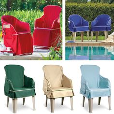 Give new life to your outdoor resin chairs by covering them up with a colorful, padded chair cover. Each cover has foam padding for comfort and a side pocket to hole a magazine or sunglasses.