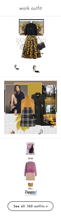 """""""work outfit"""" by amanda-uccellini ❤ liked on Polyvore featuring Magdalena, skirts, CasualChic, trends, Michael Kors, Warehouse, Gucci, Yves Saint Laurent, Tom Ford and New Balance"""