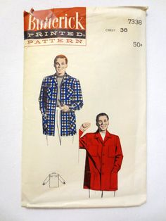 Vintage Butterick Sewing Pattern 7338 (1950's) Men's Shirt Styled Sport Jacket - Chest 38