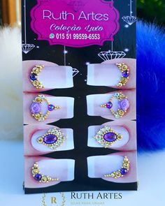 A imagem pode conter: texto Nails Design With Rhinestones, Nail Jewels, Bindi, Pedicure, Hair And Nails, Nail Designs, Nail Art, Drop Earrings, Jewelry
