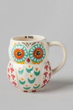 Be Happy Owl Ceramic Mug