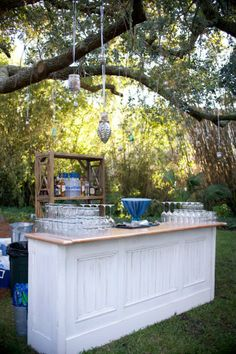 Pictured: Plantation Bar & Wood Lattice Etagere… More