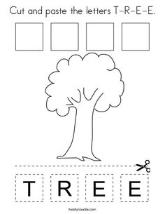 Cut and paste the letters T-R-E-E Coloring Page - Twisty Noodle Zebra Coloring Pages, Coloring Pages Nature, Tree Coloring Page, Letter T Worksheets, Spelling Worksheets, Calendar Worksheets, Preschool Worksheets, Preschool Color Activities, Spelling Activities
