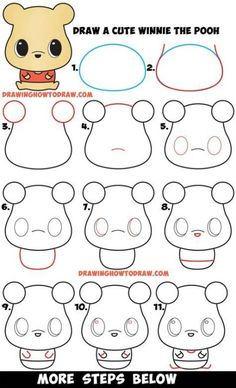 Drawing Doodles Ideas Learn How to Draw a Cute Chibi / Kawaii Winnie The Pooh Easy Step by Step Drawing Tutorial for Beginners Easy Disney Drawings, Cute Easy Drawings, Kawaii Drawings, Doodle Drawings, Cartoon Drawings, Hipster Drawings, Drawing Cartoon Characters, Drawing Disney, Pencil Drawings