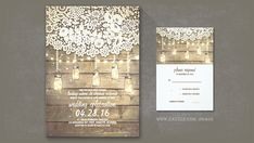 Ivory vintage lace, old barn wood and fireflies mason jars wedding invitation for rustic country wedding theme. Romantic string of lights invite for vintage style bride and groom with old fashioned...
