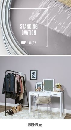 Behr Paint in Standing Ovation is a dusty, near-neutral shade of lilac that pairs beautifully with bright white accent colors and warm wood tones. This girl's bedroom uses glam accessories to c Decor, Living Room Paint, Paint Colors For Living Room, Home Decor, Bedroom Paint, Room Colors, Bedroom Colors, Behr Paint, House Colors