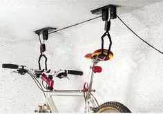 2 Sets of Ceiling Mounted Hanging Bicycle Bike Lift - Garage Storage Pulley Rack - $27.54