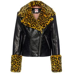 Shrimps - Maisie Faux Leather and Fur Biker Jacket ($770) ❤ liked on Polyvore featuring outerwear, jackets, leopard jacket, biker jackets, fur collar jacket, vegan leather jacket and motorcycle jacket