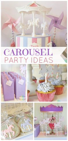 What a beautiful girl birthday party featuring lovely carousels! See more party. Carousel Birthday Parties, Carnival Birthday, 3rd Birthday Parties, Birthday Ideas, 2nd Birthday, Princesse Party, Carousel Cake, Horse Party, Festa Party