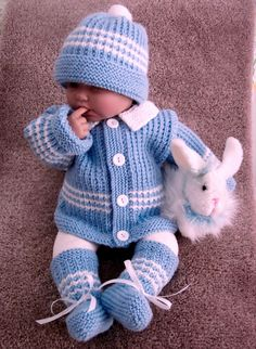 Blue baby sweater set with white striped accents. Beautiful gift for baby shower or for your own little lad. Hand knitted with love and care by grandma Anne.