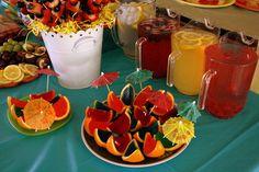 Luau Party Ideas - jello orange wedges