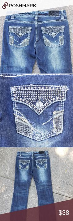 cdb362abb30 Rock   Roll Cowgirl Blingy Bootcut Jeans 34 x 30