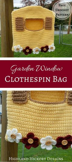 This Garden Window Clothespin Bag has a deep pocket and can hold over 100 clothespins. It uses a child-sized hanger and can be hooked onto your clothesline. #crochet #freecrochetpattern #clothespinbag