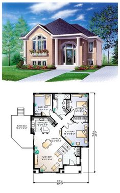 House Plan 65350 | Total living area: 1234 sq ft, 3 bedrooms & 1 bathroom. #colonial #houseplan