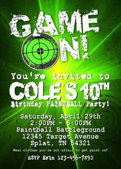 Free printable laser tag invitations template birthday pinterest get your game on for your laser tag paintball archery filmwisefo