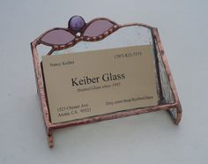 Business Cardholder  Iridescent Clear Stained Glass by KeiberGlass, $20.00