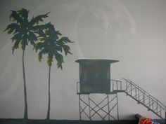 I love this lifeguard tower & palm tree mural, and you could do it in any colors you like!