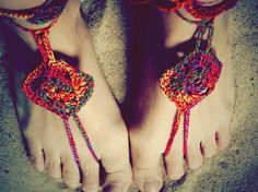 "Laurie!  Remember making these for us? --Yes! Barefoot ""sandals"" with bells around the ankles!"