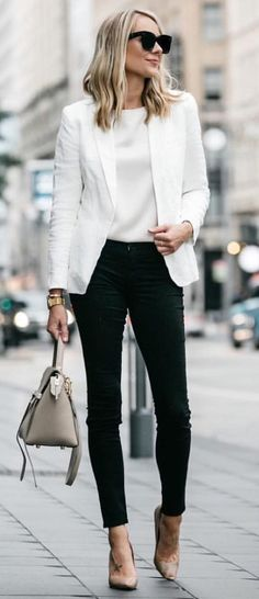 #fall #outfits women's white blazer, black skinny jeans
