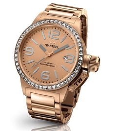 This ladies TW Steel watch from the 'Canteen' range features a rose gold stainless steel bracelet and case. The watch also features a date window and is water resistant. All of our TW Steel watches come in an official box with a 2 year warranty. Gold Plated Bracelets, Metal Bracelets, Surf Watch, Oversized Watches, Online Watch Store, Online Shopping, Mode Outfits, Stainless Steel Watch, Watches Online