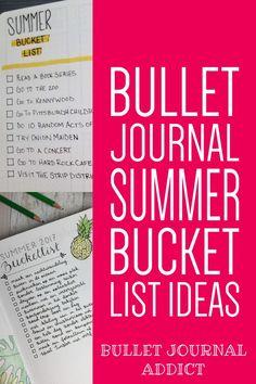 Summer Bullet Journal Bucket List Ideas - Bullet Journal Summer Themes - Bullet Journal Inspiration For Summer #bulletjournal #bujo #bujolist #bujolove #bujo2019 #summer #bucketlist #bulletjournalcollection #bujocollection