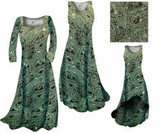 NEW!! Green Paisley Glittery Print - available in skirts, dresses, pants, jackets, and shirts! From Large to 9x- http://sanctuarie.com/negrpaglslpr.html