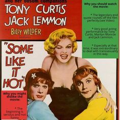 Quick review of Some Like It Hot by Billy Wilder #billywilder #marilynmonroe #jacklemmon #tonycurtis #vintagemovies #oldmovies Jack Lemmon, Billy Wilder, Tony Curtis, Some Like It Hot, She Movie, Hollywood Icons, Cult Movies, See Videos, Grafik Design