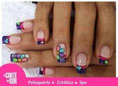 U% + decoradas + - + decoradas + uñas + 2016 +% × Cute Nails, Pretty Nails, Hair And Nails, My Nails, Nails First, Happy Nails, French Tip Nails, Manicure E Pedicure, Flower Nails